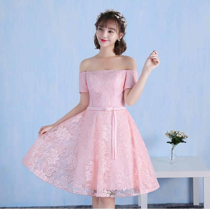 Rosa claro moderno dama de honor vestidos muy formales corta top de ...