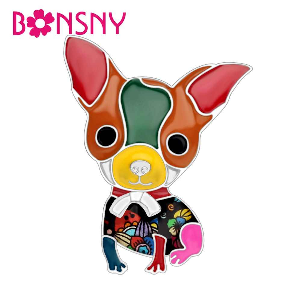 Bonsny Enamel Alloy อะนิเมะ Chihuahua สุนัขเข็มกลัดสัตว์น่ารักเครื่องประดับ Pin สำหรับผ้าพันคอเสื้อผ้าผู้หญิงตกแต่งสัตว์เลี้ยงคนรักของขวัญ