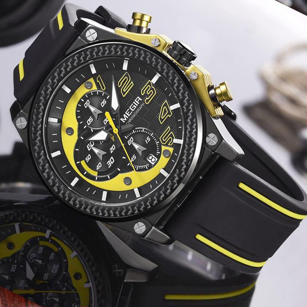 Watch Mænd Style MEGIR Luksus Brand Sports Quartz Watch Silikone - Mænds ure - Foto 4