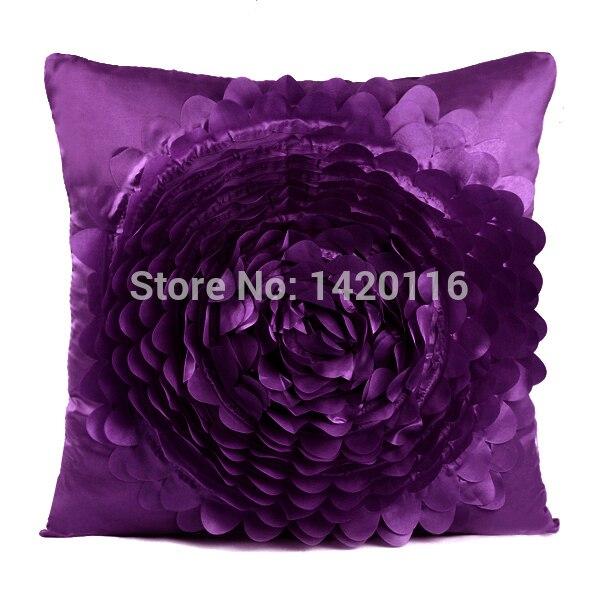 1 шт Темно-фиолетовый 3D поднял розовое наволочки бросок наволочки 40 см x 40 см ...