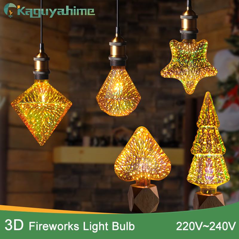 Kaguyahime NEW 3D Star led bulb Decoration Edison Bulb E27 220v A60 ST64 Star/Heart/Diamond led Lamp christmas party bar Room
