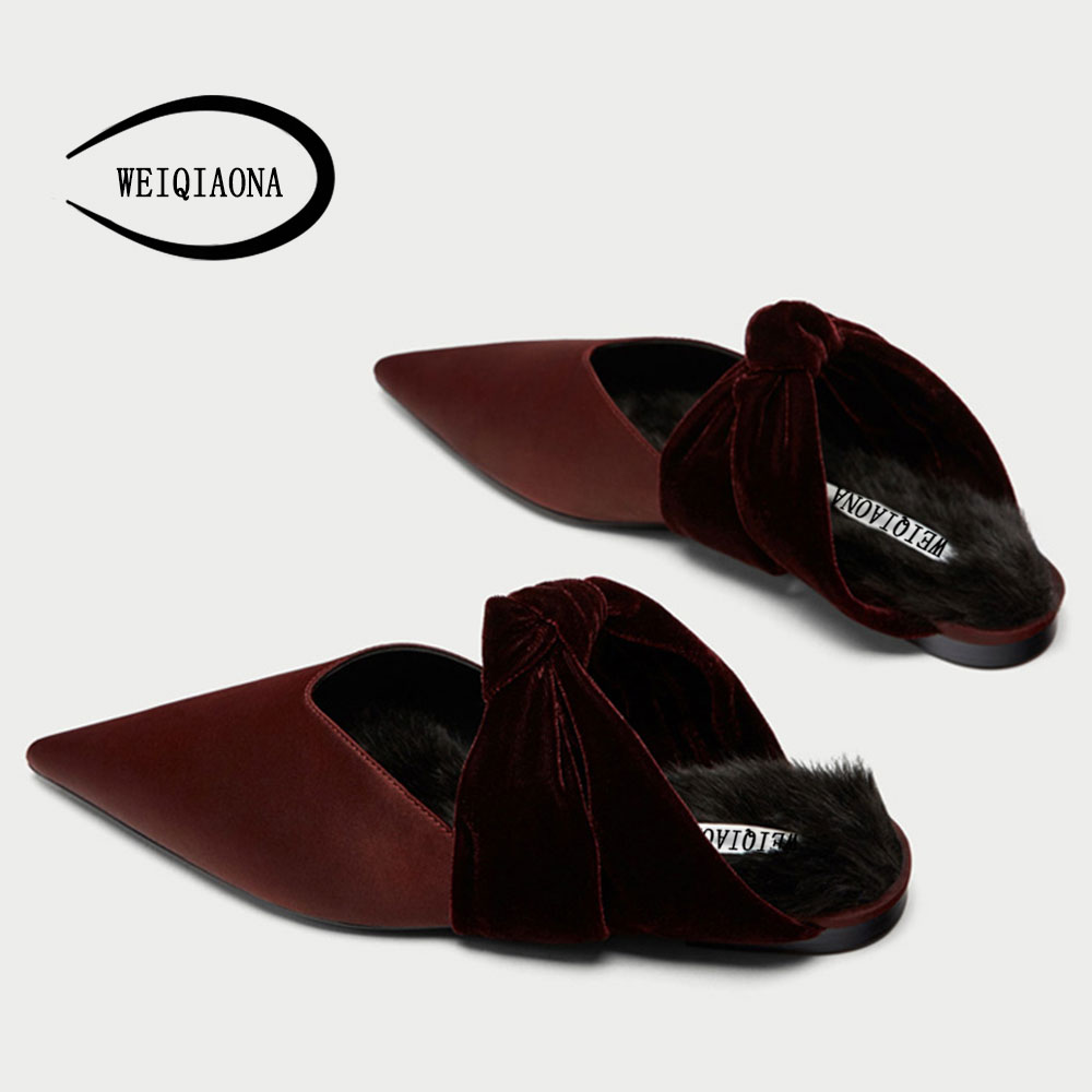 WEIQIAONA Fashion ladies flat shoes Velvet Butterfly-knot Pointed short plush High quality Sexy shoes women comfortable flats new listing pointed toe women flats high quality soft leather ladies fashion fashionable comfortable bowknot flat shoes woman