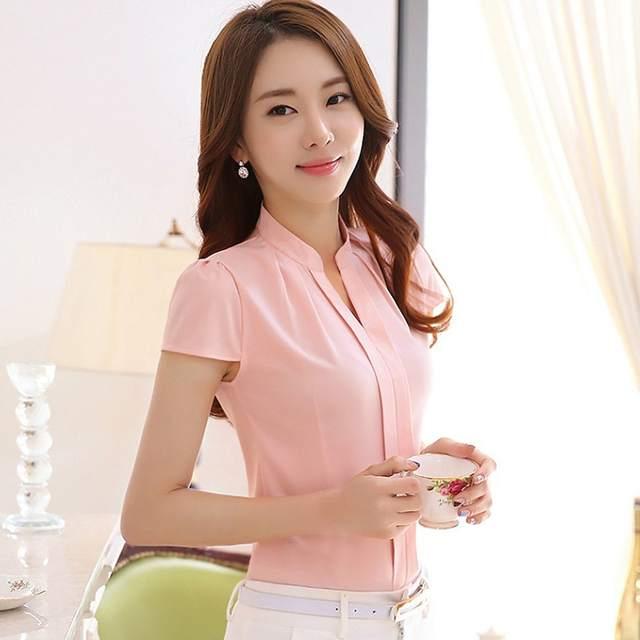 991639b1fb placeholder Rosa Branco Chiffon Blusa de Manga Curta Mulheres 2018 Elegante  Ladies Escritório Shirts Moda Casual Coreano