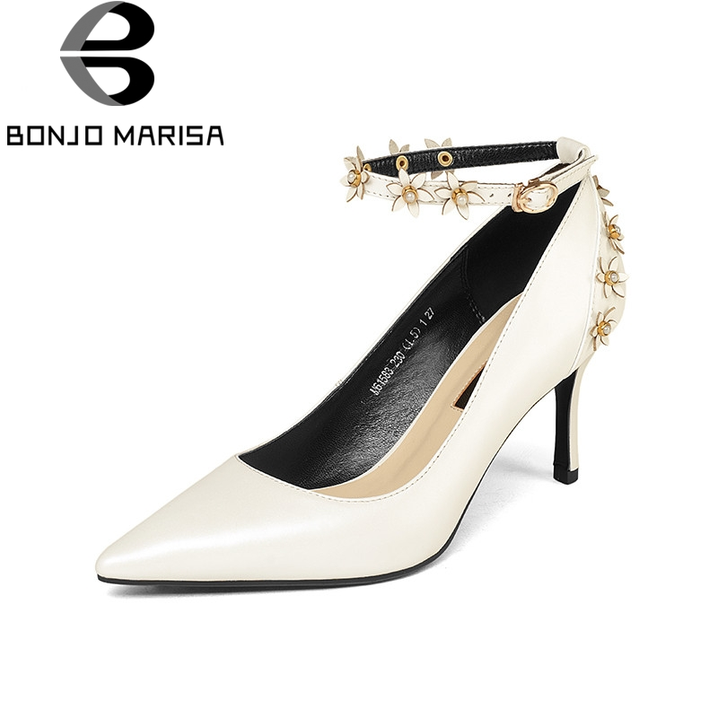BONJOMARISA 2018 Spring Autumn Elegant Cow Leather Women Ankle Strap Pumps Flowers High Heels Ol Shoes