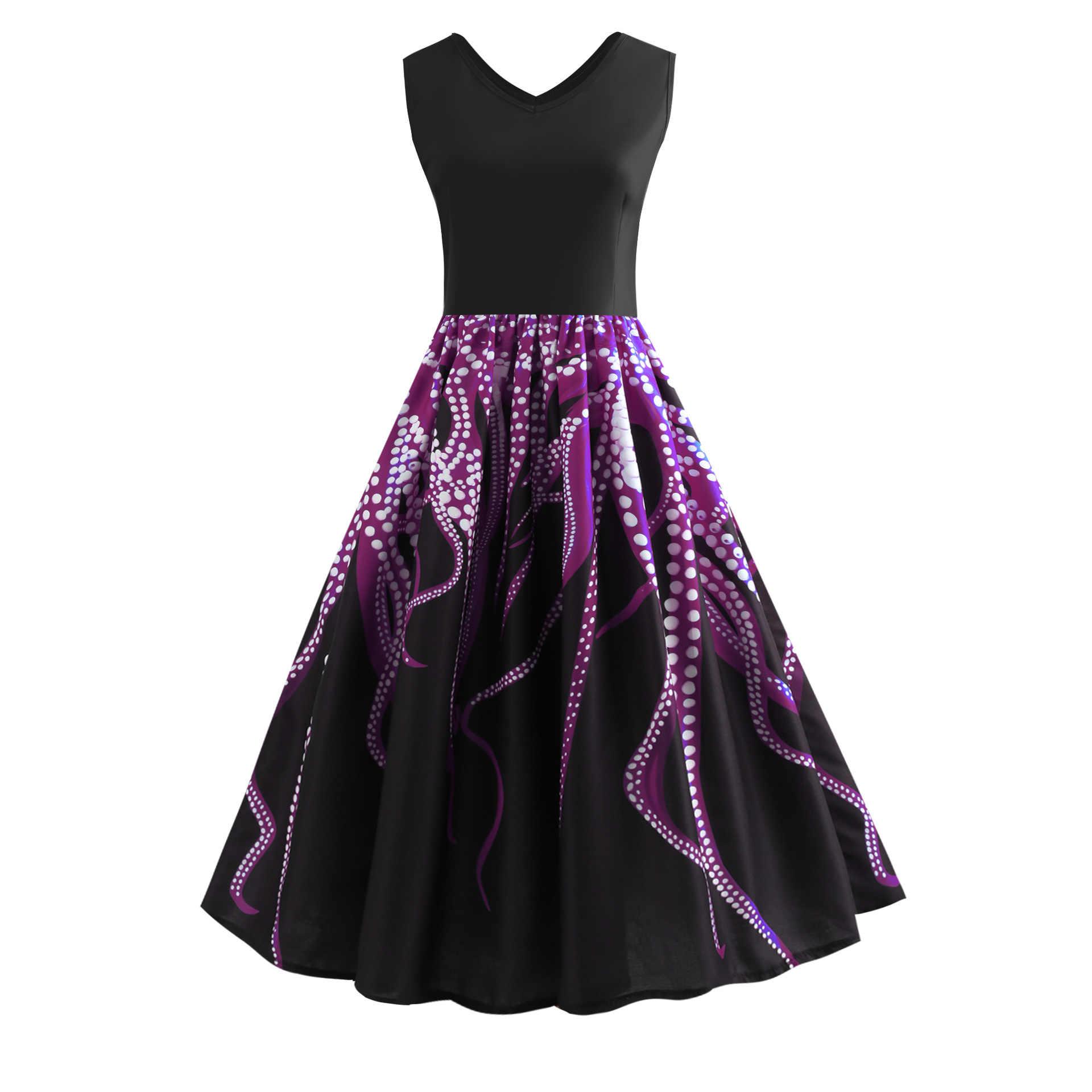 พิมพ์ V คอฤดูร้อนผู้หญิงเซ็กซี่ชุดพรรค Elegant Retro Hepburn วินเทจ 50 s 60 s Rockabilly swing Dress