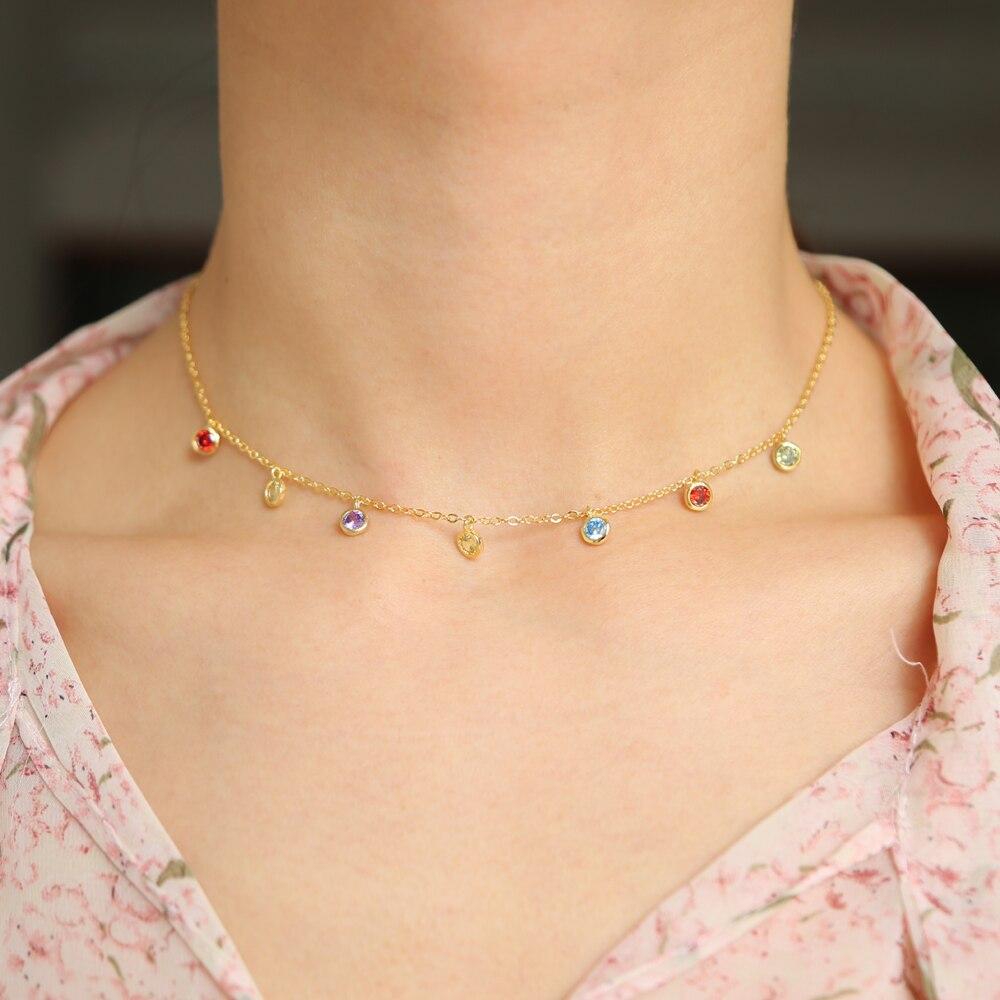 Rainbow Colorful Bezel Cz Drop Charm Statement Necklace Bohemia Gold Color Choker Elegance Chic Chocker Chain Colored Necklace