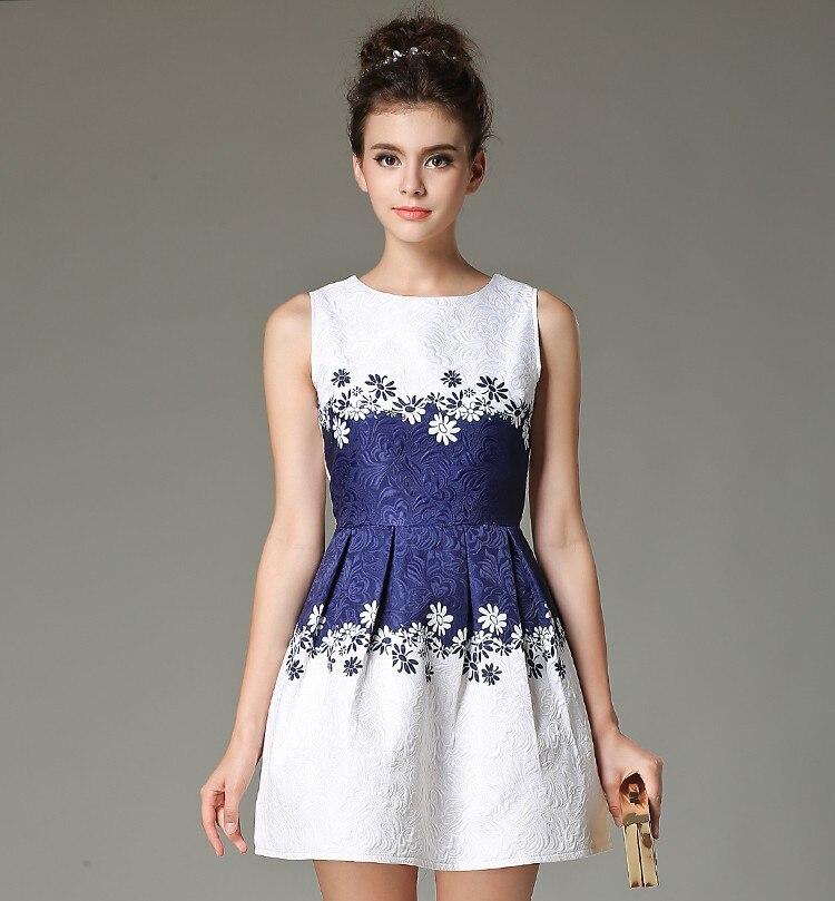 summer dress mujer de marca de impresión chaleco sin mangas de estilo casual ve