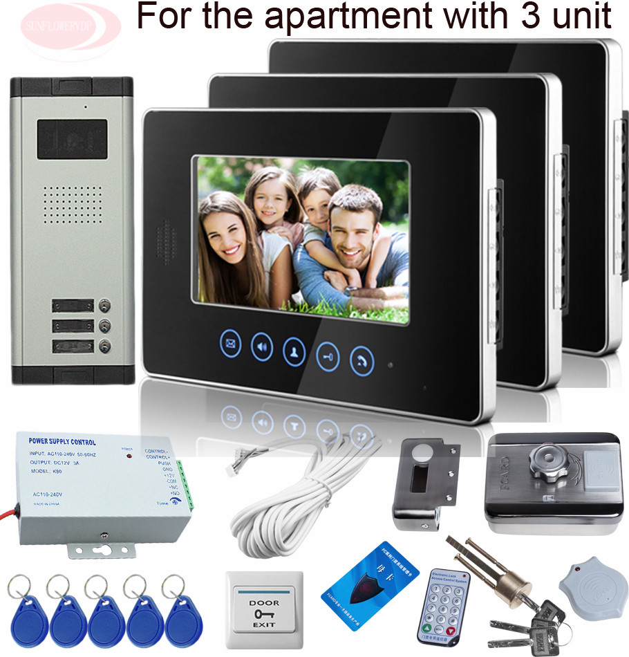 Sunflowervdp Video Intercoms Touch Buttons Weatherproof Doorbell Electronic Lock Rfid  Access Control Videophone 3 Appartement