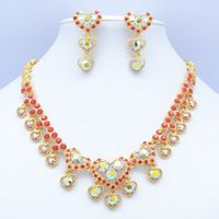 Real Austrian Crystals Rhinestone Red Heart Love Wedding Bridal Necklace Earring Jewelry Set JN0558 Clearance Sale