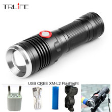 8000LM USB LED Tactical Flashlight CREE XM-L2 Flashlight Aluminum Torch Power Reminder Flash Light Camping Lamp with USB Cable