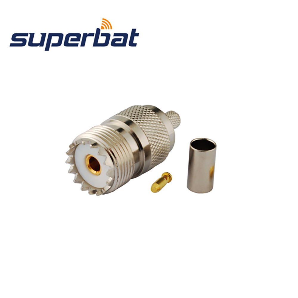 Superbat 10pcs UHF Crimp Jack Female RF Coaxial Connector For RG58 RG142 RG400 LMR195 Cable Free Shipping