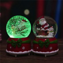 Christmas Crystal Ball Music Box Floating Snow With Lights Christmas Birthday Gift Snowman Santa Claus Ornament Party Decoration(China)