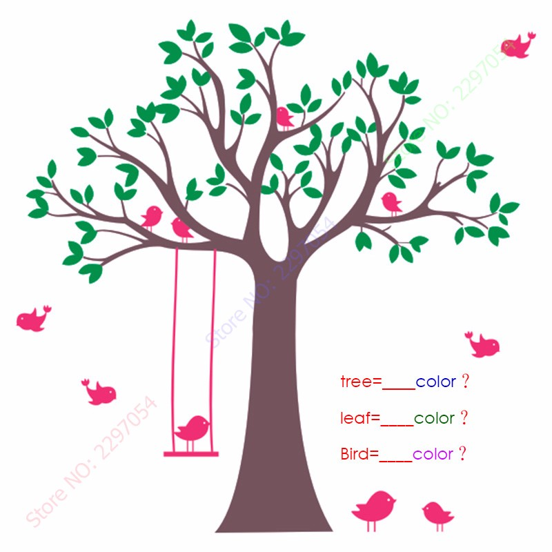 Bebé vivero árbol etiqueta de la pared Swing Birds Tree Wall Decals - Decoración del hogar