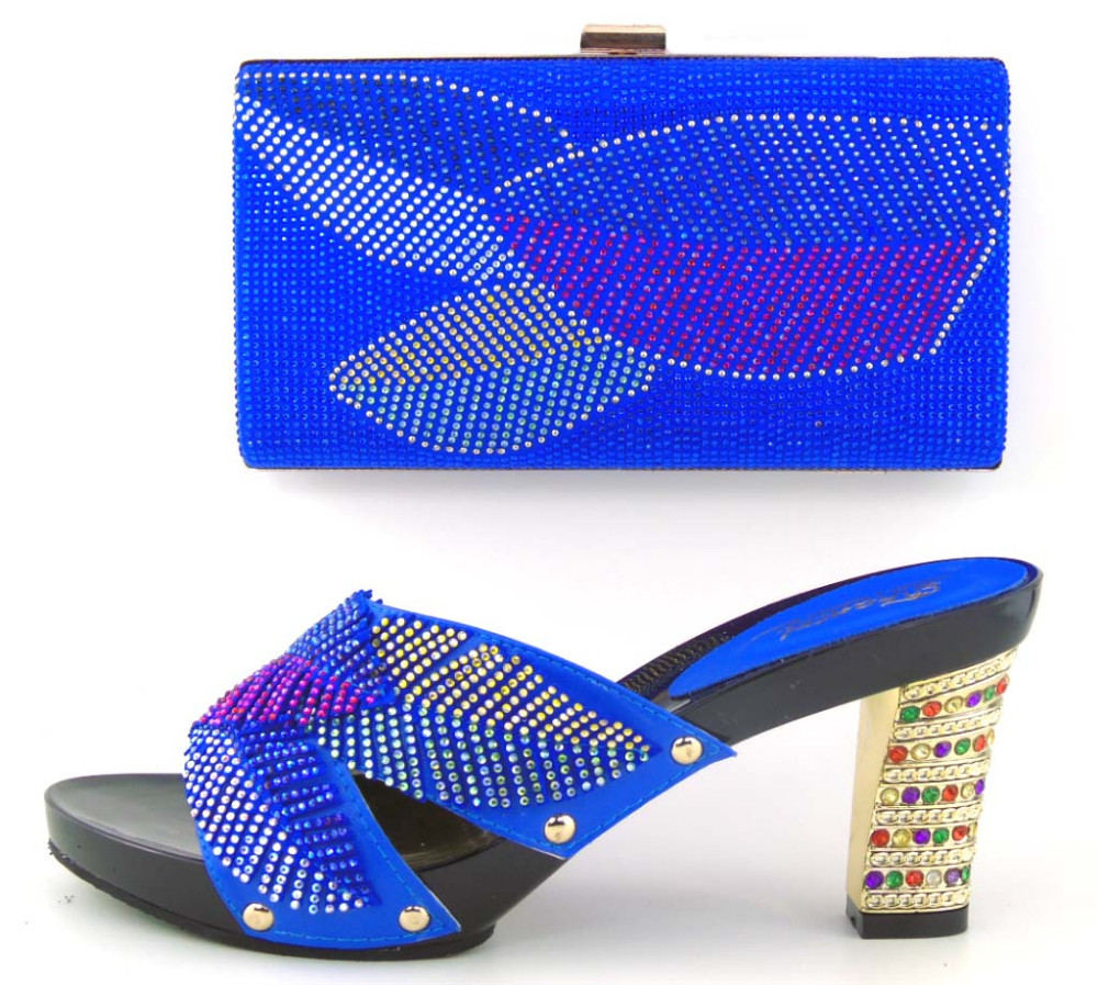 ФОТО 2017 High Quality African Shoe And Bag Set For Party In Women Sandal Italian Shoes Withing Handbag Set With Rhinestones TH16-42
