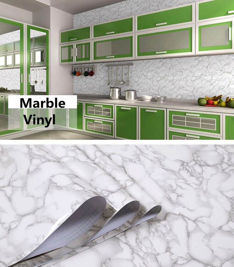 New Arrival 48x197 Grey Color Marble Contact Paper Wallpaper