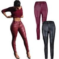 High Elastic Faux PU Leather Women Punk Cool Pants Black Wine Red Streetwear Motor Hip Hop Trouzers Female Sexy Fitness Pants
