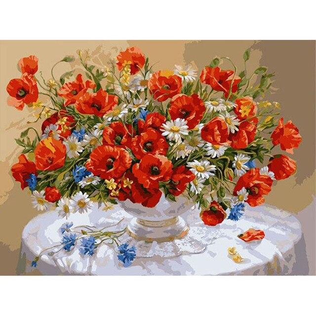 Bez Ramki Czerwony Kolorowe Kwiaty Diy Digital Painting By Numbers