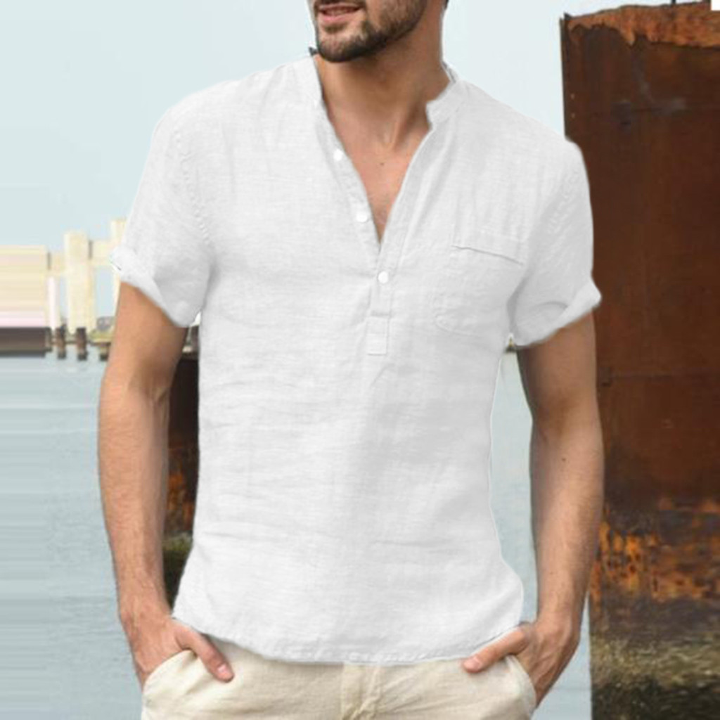 Shirt White Short-Sleeve Oversized Streetwear Fashion Men Summer Plus V-Neck Casual Szie