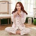 Tinyear мода цветочным узором mujer femme 100% хлопок pijamas пижама pijama плюс размер L-XL бесплатная доставка