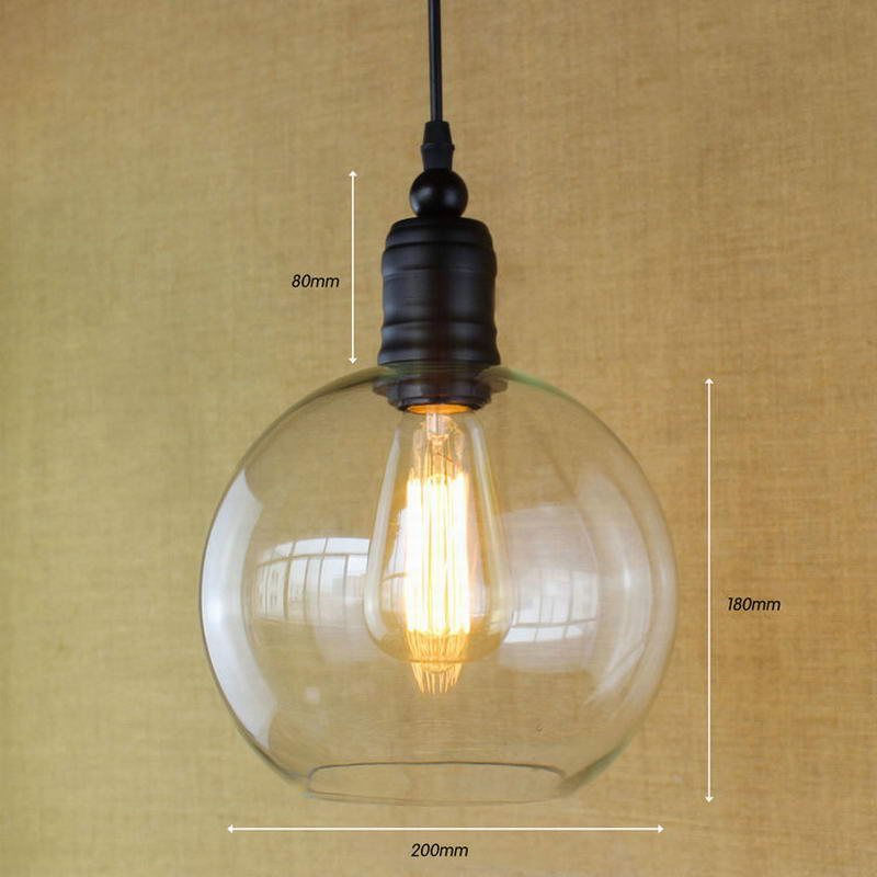 Europeo dell'annata del pendente luci di ferro bianco di vetro appeso campana lampada con la lampadina Edison Luce del pendente Luci Della Cucina Luci Armadio - 4