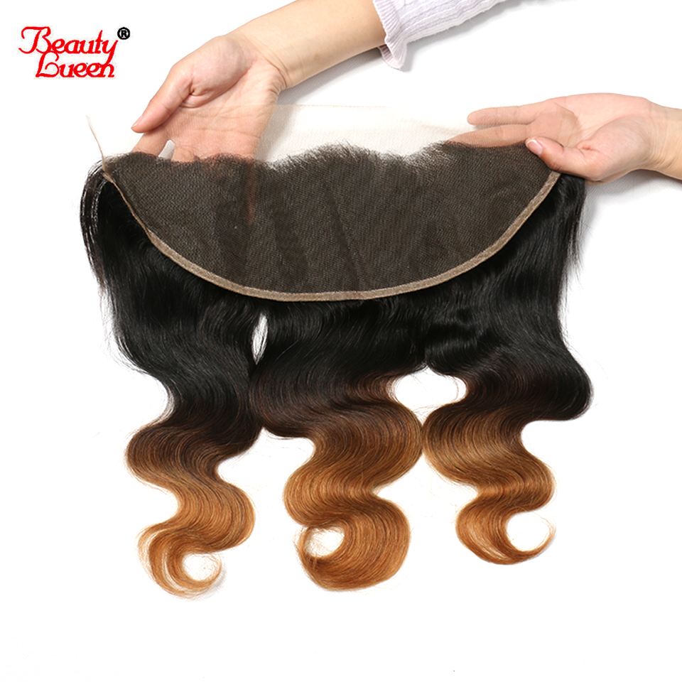 Ombre Brazilian Body Wave Lace Frontal Closure 1b 4 30 13x4 130 Density Pre Plucked Lace