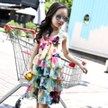 2017 Fashion Summer Girls Dresses For Kids Sleeveless Tiered Beach Dresses Girls Beautiful Chiffon Princess Casual Party Dress