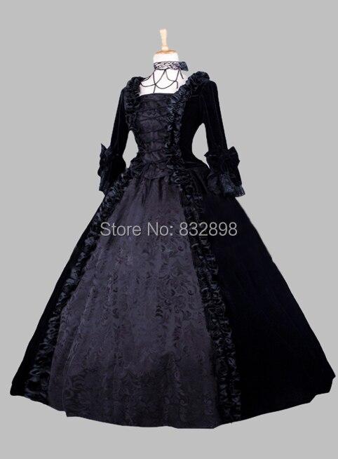 Gothic Black Jacquard Pleuche Victorian Era Dress Historical Stage Costume