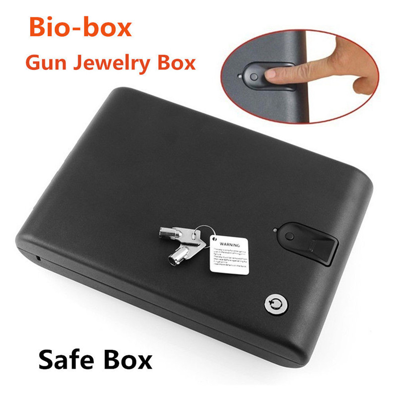 Fingerprint Safe Box Solid Steel Security Key Gun Valuables Jewelry Box Protable Security Biometric Fingerprint Safes Strongbox protable safes strongbox fingerprint safe box security fingerprint and key lock 2 in 1 valuables jewelry box for car household