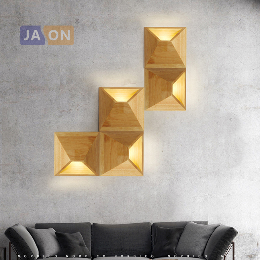 Us69 8Off Iron Indoor Led Magic Sconce For Light led Wood Box Bedroom Modern Wall 5w Lamp 0 Diy Geometric Store 3w In nOw08Pk