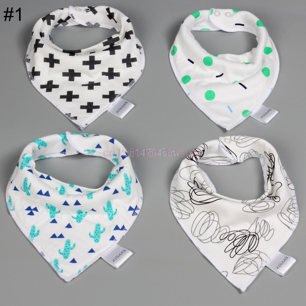 4Pcs Baby Kids Bandana Bibs Feeding Saliva Towel Dribble Cotton Set H055