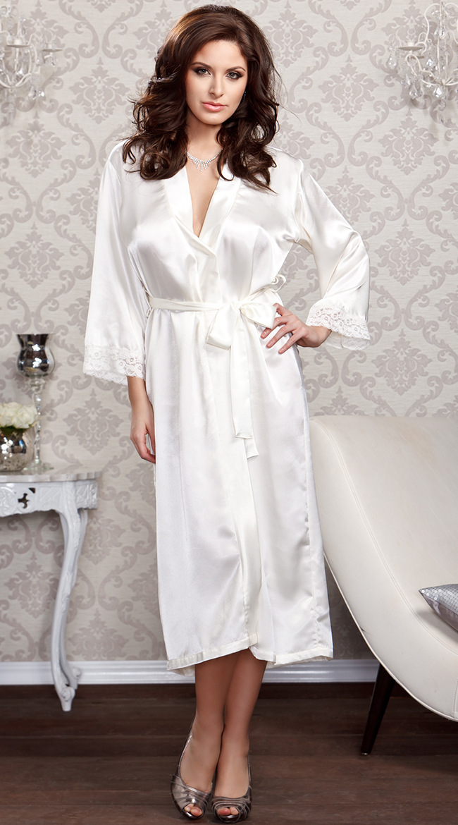 ba1711e7e Women Sexy Faux Satin Lace Silk Long Robes Underwear Lingerie Nightdress  Sleepwear Bathing Robe Belt Without G-string Black