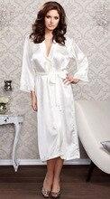 Women Sexy Faux Satin Lace Silk Long Robes Underwear Lingerie Nightdress Sleepwear Bathing Robe Belt Without G-string Black цена