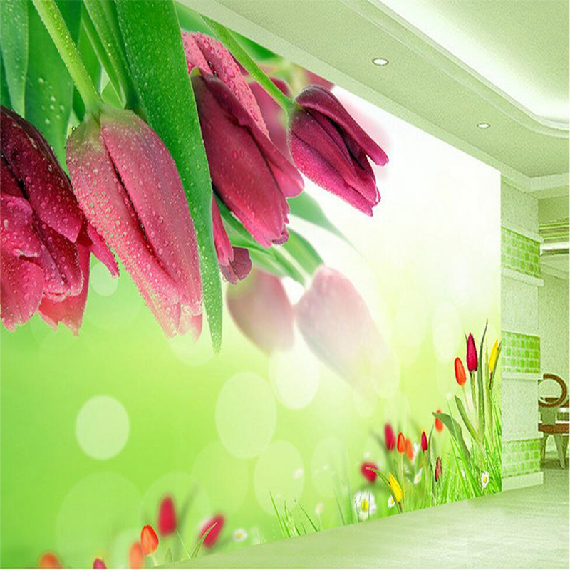 Large 3D Wall Murals Photo Wallpaper Flower custom tulips wallpaper for bedroom walls TV Background Study Wall Mural Wallpaper 3d custom the house full of romantic love sea murals large mural peacock bedroom wallpaper tv wall wallpaper