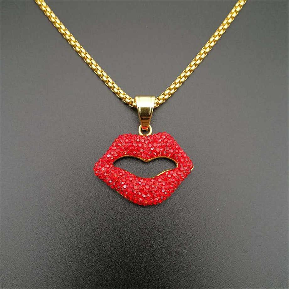 Iced Out czerwony usta wisiorek naszyjnik Sexy biżuteria złoty kolor skrzynka ze stali nierdzewnej łańcuchy dla kobiet Hip Hop Party prezenty