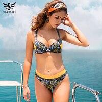NAKIAEOI Sexy Bandage Bikini Push Up Swimwear Women Swimsuit Brazilian Bikini Set 2017 Summer Patchwork Underwire