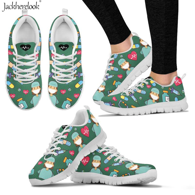 Jackherelook Women Doctor Nurse Sneakers Lightweight Breathable Air Mesh Flats Cute Female Lady Casual Spring Summer Flat Shoes in Women 39 s Flats from Shoes