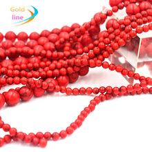 Red Natural Loose Stone Jewelry Beads 4MM 6MM 8MM 10MM 12 mm Round Beads Fit Jewelry DIY making(China)
