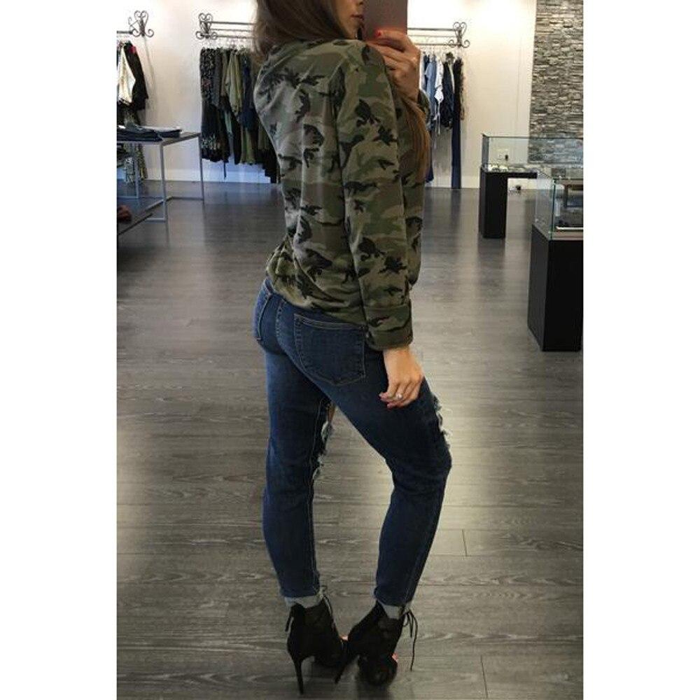 438de1335 Cool design mujeres Top ropa Deep v cuello Stripe camisa de manga larga  Slim casual blusas camuflaje impresión Tops Harajuku en Camisetas de La  ropa de las ...