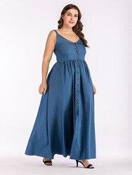 Europa lato duży rozmiar Sundress Denim Sukienka kobiety Sling duże wahadło Sukienka dla tłuszczu kobiet Casual długi Vestido Sukienka 2