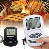 การปรุงอาหารอาหารเครื่องวัดอุณหภูมิจอแอลซีดีบาร์บีคิวTimerดิจิตอลProbeวัดอุณหภูมิเนื้อบาร์บี...