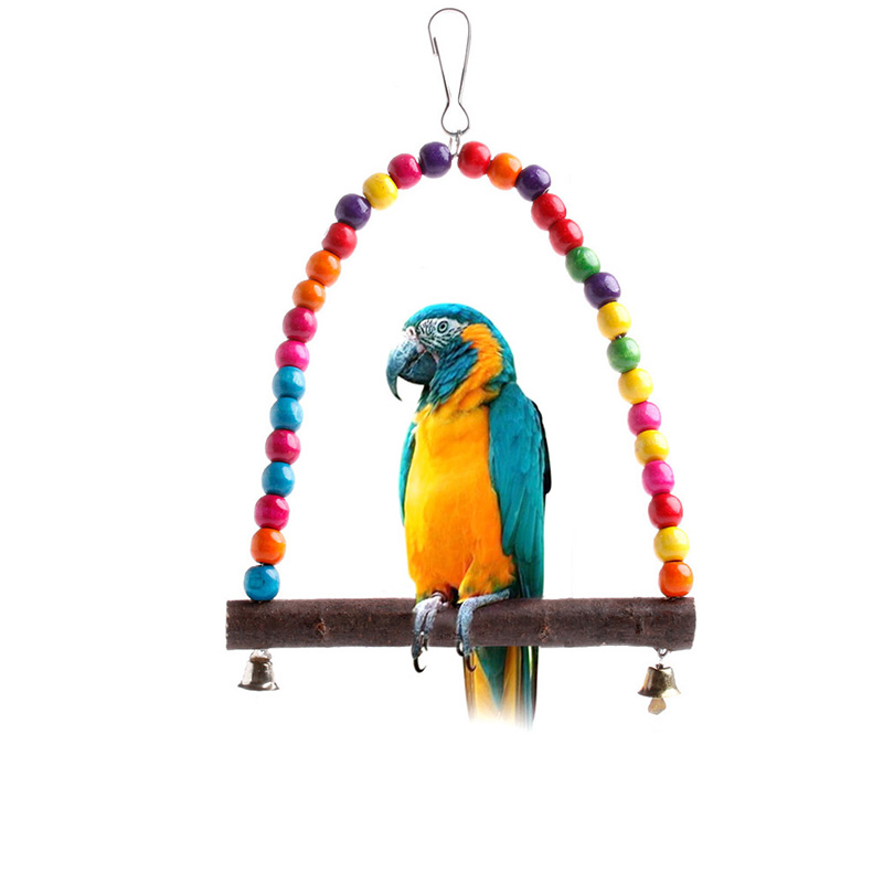 Bird Cage Toys : Wood swing bird toy parrot cage toys finch parakeet