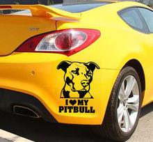 Car Sticker I Love My Pitbull Vinyl Waterproof Decal For Window Decoration Removable Art Auto Mural Y-459