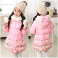 Fashion Parkas girls winter jacket teenage flower print cotton-padded coat slim chinese style medium-long pink sweet outerwear