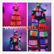 Free shipping laser outfit LED Co2 robot suits stilts light up costume
