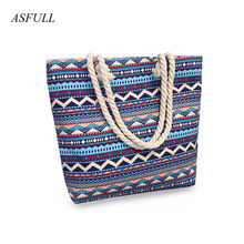 2018 New Summer Women Canvas bohemian style striped Shoulder Beach Bag Female Casual Tote Shopping Big Bag floral Messenger Bags(China)