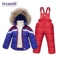 Ircomll Children's Winter Overalls For Girls Boys Thickened Infant Kids Clothing Sets 2PCS Top Coat Cotton Jacket+Overalls Pants
