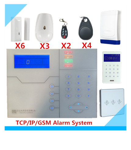 8 wired zone and 32 wireless Zone TCP IP GSM Alarm System Security Home Alarm system With Intelligent Light Switch