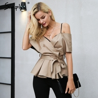 Simplee Backless V Neck Blouse Shirt Women Tops Satin Sash Bow Shirt Blouse Chemise Christmas Elegant
