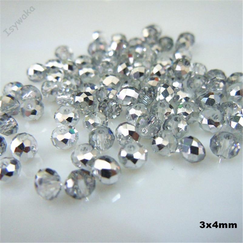 3x4mm 145pcs colorful pink diamond cutting surface crystal beads