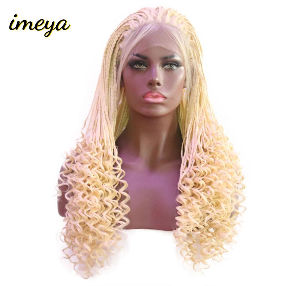 Imeya Long Blonde Wigs Micro Braided Lace Front Wigs Synthetic Hair With Baby Hair Curly End For Women Girls